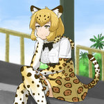 1girl :/ belt black_bow blonde_hair blurry bored bow breasts brown_hair center_frills chin_rest closed_mouth commentary_request crossed_legs day depth_of_field elbow_gloves eyebrows_visible_through_hair fur_collar gloves high-waist_skirt ichinose_rokujou jaguar_(kemono_friends) jaguar_ears jaguar_print jaguar_tail kemono_friends medium_breasts multicolored_hair outdoors palm_tree railing shirt short_sleeves skirt sky solo thighhighs tree two-tone_hair white_shirt yellow_eyes