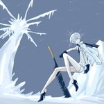 1other androgynous antarcticite blue_footwear blue_gloves cojimama commentary_request full_body gloves high_heels houseki_no_kuni long_sleeves looking_at_viewer outdoors pale_skin short_hair silver_eyes silver_hair sitting sword weapon