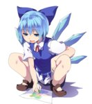 1girl blue_dress blue_hair cirno daiyousei drawing dress full_body hair_ribbon hasebe_yuusaku ice ice_wings looking_down mary_janes open_mouth ribbon shoes short_hair short_sleeves simple_background smile solo squatting touhou white_background wings