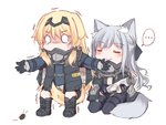 ... 2girls ak-12_(girls_frontline) an-94_(girls_frontline) animal_ear_fluff animal_ears between_legs blush boots bug closed_eyes cockroach commentary dog_ears dog_tail eyebrows_visible_through_hair girls_frontline gloves highres holding insect long_hair long_sleeves multiple_girls newspaper o_o outstretched_arms rolled_up_newspaper seiza silver_hair simple_background sitting spoken_ellipsis tail tail_between_legs tears trembling white_background yuutama2804