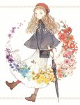 1girl anemone_(flower) bag beret boots bow bracelet brown_eyes brown_hair bunny camellia_(flower) cherry_blossoms closed_umbrella dress flower forget-me-not_(flower) handbag hat hibiscus jewelry long_hair marigold original pansy pink_rose rose seuga solo sweater umbrella