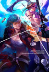 2girls arm_strap artist_name bikini black_gloves blue_hair breasts brown_hair bullet caitlyn_(league_of_legends) cloud cosplay fingerless_gloves gauntlets gloves gun jacket kamina kamina_(cosplay) kamina_shades league_of_legends long_hair multicolored_hair multiple_girls na_young_lee navel pink_hair ponytail rifle sarashi scarf short_hair shorts sky sniper_rifle striped striped_bikini striped_swimsuit swimsuit tengen_toppa_gurren_lagann two-tone_hair vi_(league_of_legends) watermark weapon web_address yoko_littner yoko_littner_(cosplay)