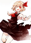 1girl black_legwear blonde_hair bow hair_bow hair_ornament kneehighs kozou_(soumuden) long_sleeves looking_at_viewer one_eye_closed open_mouth outstretched_arms red_eyes rumia shirt short_hair simple_background skirt skirt_set smile solo touhou vest white_background