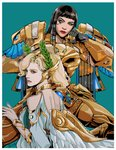 2girls absurdres alternate_costume asp_pharah back bangs bare_shoulders bite_(yaowww0) black_hair blonde_hair blue_eyes blunt_bangs border commentary dark_skin dress egyptian_clothes eyeshadow facial_tattoo gorget green_background head_wings head_wreath highres laurel_crown lips lipstick makeup mechanical_wings mercy_(overwatch) multiple_girls no_headwear no_helmet nose overwatch pharah_(overwatch) power_armor tattoo upper_body white_border white_dress winged_victory_mercy wings yellow_eyes