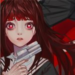 1girl asagiri_aya blood bloody_tears brown_hair crying gun holding holding_gun holding_weapon long_hair looking_at_viewer mahou_shoujo_site parted_lips portrait red_eyes school_uniform solo symbol-shaped_pupils weapon ziiiing