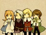 1boy 1girl 3boys arc_(ff3) bad_id bad_pixiv_id blonde_hair blue_eyes boots brown_eyes brown_hair chibi everyone everyone_fighting final_fantasy final_fantasy_iii gloves hood ingus long_hair luneth male_focus multiple_boys orange_hair ponytail refia shibaba silver_hair smile vest