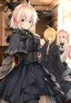 3girls absurdres ahoge bangs black_bow black_capelet black_dress black_ribbon black_skirt blonde_hair blue_eyes blurry blurry_background blush bow breasts brown_eyes capelet character_request closed_eyes closed_mouth commentary_request depth_of_field dress eyebrows_visible_through_hair facing_viewer fate/grand_order fate_(series) hair_between_eyes hair_bow hair_bun hand_on_own_chest hand_up head_tilt high-waist_skirt highres koha-ace looking_at_viewer multiple_girls neck_ribbon okita_souji_(fate) okita_souji_(fate)_(all) pink_hair ribbon shirt skirt small_breasts smile striped striped_bow striped_ribbon twintails uzuki_tsukuyo white_shirt
