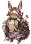 1other :3 animal_ears backpack bag baggy_pants bangs blush bunny_ears chobi_(sakuyasakuhana) claws commentary_request ears_through_headwear fang full_body furry hair_rings helmet horns long_hair made_in_abyss nanachi_(made_in_abyss) nose_blush open_mouth pants pouch scroll sidelocks silver_hair simple_background smile solo standing tail tied_hair very_long_hair whisker_markings white_background yellow_eyes