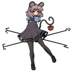 1girl animal animal_ears arms_behind_back bangs basket black_dress black_footwear blue_capelet capelet commentary_request dowsing_rod dress full_body grey_hair jewelry light_smile lowres mary_janes mouse mouse_ears mouse_tail nazrin necklace pantyhose pendant pixel_art red_eyes shoes short_hair silver_hair solo standing tail tail_hold takorin touhou transparent_background