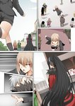 1girl artoria_pendragon_(all) black_hair carrying commentary_request fate/grand_order fate_(series) ginhaha long_hair ponytail reaching_out red_clothes saber_alter shorts silver_hair very_long_hair yellow_eyes