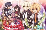 2boys 4girls ahoge anniversary artist_name bad_id bad_pixiv_id bangs black_hair black_jacket black_neckwear black_shirt black_skirt blonde_hair blush breasts brown_eyes brown_hair brown_jacket cake closed_eyes closed_mouth commentary_request copyright_name crossed_arms erwin_arclight eyebrows_visible_through_hair food fruit grapes green_eyes grin haru_estia highres iris_yuma jacket jin_seipatsu korean_commentary lily_bloomerchen long_hair maett medium_breasts miniskirt multiple_boys multiple_girls necktie octopus open_clothes open_jacket open_mouth orange orange_neckwear oven_mitts pants party pleated_skirt profile red_eyes red_neckwear school_uniform shirt short_hair skirt smile soul_worker stella_unibell strawberry uniform v weapon white_hair white_shirt