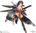 1girl absurdres artist_name boots bow breasts brown_hair character_name cleavage dress full_body gun highres long_hair mecha_musume open_mouth orange_eyes personification phoenix_home solo star_wars teeth thighhighs transparent_background vectorek weapon
