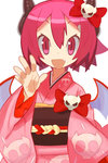 1girl :d bat_wings bow cowboy_shot disgaea fang horn_bow horns japanese_clothes kimono looking_at_viewer makai_senki_disgaea_3 open_mouth pink_eyes pink_hair raspberyl red_bow short_hair slit_pupils smile solo white_background wings yukata yuuki_(irodo_rhythm)
