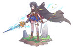 1girl bangs black_hair blue_eyes blue_skirt boots breasts brown_boots brown_gloves cloak closed_mouth commentary_request dual_wielding fantasy full_body garter_straps gauntlets gloves grass hair_between_eyes holding holding_sword holding_weapon legs_apart looking_to_the_side original pouch short_hair simple_background single_gauntlet single_glove skirt small_breasts solo standing sword tajima_ryuushi weapon white_background