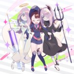 3girls alternate_costume angel angel_and_devil angel_wings boots brown_hair commentary_request demon_girl demon_tail demon_wings evil_smile girl_sandwich hair_over_one_eye halo hat kagari_atsuko komoreg large_syringe little_witch_academia locked_arms long_hair multiple_girls multiple_persona oversized_object polearm red_eyes sandwiched smile sucy_manbavaran sweatdrop syringe tail trident twitter_username weapon white_pupils wings witch witch_hat