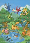 2005 :d bird black_eyes blue_eyes blue_sky blush_stickers bush celebi closed_mouth cloud copyright_name creature day eating eo_kanako flower flying food fruit gen_1_pokemon gen_2_pokemon gen_3_pokemon gen_4_pokemon grass happy highres holding holding_food holding_fruit jirachi jumping latias latios legendary_pokemon looking_up mudkip munchlax mushroom nature no_humans official_art one_eye_closed open_mouth oran_berry outdoors pecha_berry pikachu pokemon pokemon_(creature) pool red_eyes reflection sky smile standing standing_on_one_leg swimming torchic tree water watermark whismur wings yellow_eyes