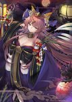 1girl animal_ears balusah bare_shoulders bow breasts brown_eyes cleavage commentary_request detached_collar fate/grand_order fate_(series) fox_ears fox_tail full_moon hair_bow head_tilt japanese_clothes kimono lantern large_breasts light_smile long_hair moon off_shoulder pink_hair solo tail tamamo_(fate)_(all) tamamo_no_mae_(fate) very_long_hair