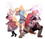 1girl 2boys arm_up aura belt blonde_hair bracer cape commentary dab_(dance) dark_skin dark_skinned_male dress ganondorf glowing glowing_hand green_eyes highres idohj12 link looking_at_viewer multiple_boys pointy_ears pose princess_zelda red_eyes red_hair shoulder_armor simple_background standing super_smash_bros. the_legend_of_zelda the_legend_of_zelda:_a_link_between_worlds the_legend_of_zelda:_breath_of_the_wild the_legend_of_zelda:_ocarina_of_time tiara triforce white_background