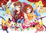 1boy 1girl beautifly blue_eyes bow brown_eyes brown_hair clenched_hand confetti cosplay_pikachu cowboy_shot creature hair_bow haruka_(pokemon) haruka_(pokemon)_(remake) jacket jirachi minun mudkip one_eye_closed pikachu pink_bow pink_skirt plusle pokemon pokemon_(creature) pokemon_(game) pokemon_oras ribbon shirt short_hair skirt smile stephanie_lee swablu torchic treecko v yuuki_(pokemon) yuuki_(pokemon)_(remake)