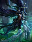 1girl armored_boots artist_name black_hair boots copyright_name feathered_wings gloves green_hair guan-yu_chen highres legend_of_the_cryptids long_hair mask multicolored_hair official_art solo spirit staff two-tone_hair wings