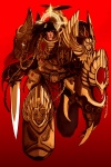 1boy all_seeing_eye armor bird black_eyes brown_hair chain claws cross cross_(guncross) eagle emperor_of_mankind halo laurel_crown laurels lightning_bolt long_hair male_focus manly mecha ornate power_armor red_background red_eyes simple_background skull solo sword warhammer_40k weapon wings