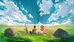 1boy 1girl absurdres ass black_hair brown_gloves cloud crop_top day from_behind gloves hand_on_hand highres homura_(xenoblade_2) midriff outdoors poteto_(potetosarada123) red_hair rex_(xenoblade_2) scenery short_hair sword weapon xenoblade_(series) xenoblade_2