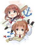 2girls anchor black_legwear black_sailor_collar brown_hair chibi compass dress fang fish folded_ponytail full_body hair_ornament hairclip highres hizuki_yayoi ikazuchi_(kantai_collection) inazuma_(kantai_collection) kantai_collection kneehighs looking_at_viewer map multiple_girls neckerchief oar open_mouth red_neckwear sailor_collar sailor_dress scallop short_hair skin_fang smile starfish white_background white_dress