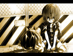 1girl barefoot chain-link_fence garbage lonely looking_at_viewer miyako_yoshika monochrome no_hat ofuda ribbon shika_miso short_hair sitting skirt solo torn_clothes touhou trash_bag younger