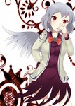 1girl arlonn bowtie dress jacket kishin_sagume red_eyes short_hair silver_hair simple_background single_wing touhou white_background wings