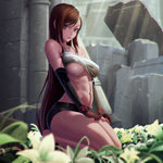 1girl abs absurdres artist_name barefoot black_hair breasts brown_eyes covered_nipples final_fantasy final_fantasy_vii fingerless_gloves gloves highres large_breasts long_hair looking_at_viewer navel ruins shirt_lift short_shorts shorts solo tifa_lockhart underboob xxnikichenxx