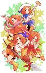 13mimi :o bandana blush_stickers boots broom commentary_request dress gloves hat kirby_(series) messy_hair multiple_girls orange_eyes orange_hair personification polearm sailor_hat scarf short_hair skirt smile smirk spear star starry_background umbrella waddle_dee weapon
