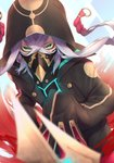 1boy absurdres asclepius_(fate/grand_order) black_jacket black_mask_(clothing) braid breastplate buttons commentary_request covered_mouth face_mask fate/grand_order fate_(series) gradient_hair green_eyes hair_between_eyes highres hood hood_up hooded_jacket hoodie jacket long_hair long_sleeves looking_at_viewer male_focus mask masked multicolored_hair open_clothes red_hair sleeves_past_fingers sleeves_past_wrists solo twin_braids two-tone_hair white_hair yuurei447