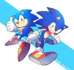 2boys anniversary black_eyes blue_spine dual_persona gloves green_eyes holding_hands multiple_boys no_humans poroi_(poro586) red_footwear shoes socks sonic sonic_the_hedgehog thumbs_up