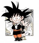 1boy 1girl :d bare_arms bare_shoulders belt black_dress black_eyes black_footwear black_hair black_shirt boots bracelet breasts building bulma capsule_corp chibi cloud cloudy_sky commentary_request crossed_arms dragon_ball dragon_ball_(classic) dress earrings eyelashes fenyon fingernails full_body grey_eyes grey_hair hair_between_eyes happy jewelry looking_at_viewer looking_away medium_breasts open_mouth outdoors palm_tree red_earrings red_lips red_nails shadow shirt short_hair sky sleeveless sleeveless_dress smile son_gokuu spiked_hair standing traditional_clothes tree twitter_username v yellow_footwear