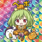 1girl :d bangs big_head bikkuriman bikkuriman_(style) blush boots braid breasts candy_wrapper character_name checkerboard_cookie chibi cookie cross-laced_clothes crown_braid dress eyebrows_visible_through_hair flat_color flower_knight_girl food fringe_trim full_body ghost green_hair halloween halloween_basket hands_up happy hat iridescent knee_boots long_hair long_sleeves no_nose open_mouth orange_dress orange_footwear parody pepo_(flower_knight_girl) puffy_short_sleeves puffy_sleeves pumpkin pumpkin_costume purple_headwear purple_legwear red_eyes rinechun short_over_long_sleeves short_sleeves sleeve_cuffs smile solo sticker style_parody thighhighs w_arms witch_hat