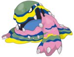 alola_form alolan_muk full_body jugemu_(kuitarann) muk no_humans official_art open_mouth pokemon pokemon_(creature) pokemon_(game) pokemon_sm solo sugimori_ken transparent_background