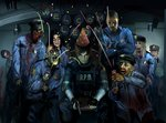 2girls 6+boys blood celebration chair commentary_request doitsuken happy hat indoors leon_s_kennedy marvin_branagh multiple_boys multiple_girls open_mouth party_hat police police_uniform policeman policewoman resident_evil resident_evil_2 sitting smile unamused uniform zombie