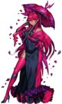 1girl bare_shoulders black_gloves covered_navel dark_skin dress drill_hair elbow_gloves flower full_body gen_5_pokemon gloves hair_ribbon high_heels highres katagiri_hachigou long_dress long_hair looking_at_viewer parasol personification petals pokemon red_hair red_legwear ribbon rose scolipede simple_background smile solo striped thighhighs umbrella white_background yellow_eyes