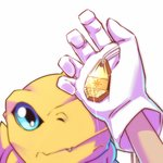 1boy agumon blue_eyes commentary_request crest digimon fang gloves hawe_king looking_up lowres pov pov_hands simple_background sparkle tag white_background white_gloves yagami_taichi