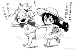 1boy 1girl :> aiue0 asui_tsuyu barefoot black_hair blush blush_stickers boku_no_hero_academia bootie commentary_request dress frog_girl graphite_(medium) hair_rings hat holding_hands kaminari_denki long_hair low-tied_long_hair millipen_(medium) multicolored_hair open_mouth pointing pointing_forward shirt short_hair smile spiked_hair straw_hat sundress t-shirt traditional_media two-tone_hair watering_can younger