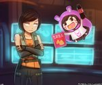 2girls >:| arm_warmers artist_name belt bottle brown_eyes brown_hair chibi chibi_inset commentary crossed_arms d.va_(gremlin) d.va_(overwatch) english_commentary floating gremlin_(xcom_2) hamster_hood himouto!_umaru-chan holding holding_bottle holding_drink lily_shen long_hair looking_at_another lumineko monitor multiple_girls namesake open_mouth overwatch parody shirt short_hair signature sleeveless sleeveless_shirt tattoo very_long_hair vest x-com xcom_2