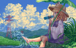 1girl bangs barefoot blonde_hair blue_eyes blue_sky blunt_bangs bottle cloud cloudy_sky commentary_request day drinking frog_eyes from_side grass hair_ribbon hat hill holding holding_bottle leaf leaf_umbrella long_sleeves looking_away moriya_suwako on_ground outdoors power_lines purple_eyes purple_skirt ramune red_ribbon ribbon sitting skirt skirt_set sky soaking_feet solo splashing summer teiraa touhou transmission_tower tress_ribbon vest water wide_sleeves