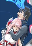 1boy 1girl bangs black_hair blossomppg blue_horns bodysuit breasts broken_horn closed_eyes commentary couple crying darling_in_the_franxx english_commentary hand_on_another's_arm hand_on_another's_face hetero highres hiro_(darling_in_the_franxx) horns hug hug_from_behind long_hair medium_breasts oni_horns pink_hair red_horns short_hair signature tears torn_bodysuit torn_clothes zero_two_(darling_in_the_franxx)