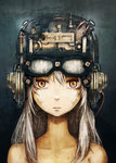 1girl cyberpunk face goggles goggles_on_head helmet looking_at_viewer orange_eyes silver_hair solo toi_(number8) yellow_eyes