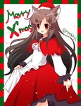 15_(tooka) 1girl animal_ears bad_id bad_pixiv_id brown_hair christmas hat imaizumi_kagerou long_hair open_mouth red_eyes santa_costume santa_hat solo touhou very_long_hair wolf_ears