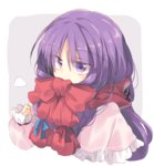 1girl bangs blue_ribbon breath capelet commentary_request covered_mouth eyebrows_visible_through_hair grey_background long_hair patchouli_knowledge purple_eyes purple_hair red_ribbon red_scarf ribbon satou_kibi scarf solo touhou two-tone_background upper_body white_background