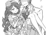 1boy 1girl blush bouquet bridal_gauntlets bridal_legwear bride carrying commentary dress faceless faceless_male flower gran_(granblue_fantasy) granblue_fantasy greyscale groom hairband long_hair monochrome petals princess_carry sara_(granblue_fantasy) thighhighs wedding_dress white_legwear yapo_(croquis_side)