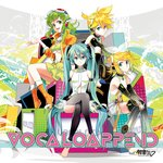 1boy 3girls album_cover anklet arm_warmers ascot barefoot black_legwear blue_eyes blue_hair boots bow closed_mouth cover crossed_legs detached_sleeves expressionless frilled_skirt frills goggles goggles_on_head green_eyes green_hair green_skirt gumi hair_bow hand_on_own_knee hatsune_miku hatsune_miku_(append) headphones highres jacket jewelry kagamine_len kagamine_len_(append) kagamine_rin kagamine_rin_(append) long_hair long_sleeves looking_at_viewer megpoid_(vocaloid3) multiple_girls navel open_clothes open_jacket open_mouth orange_footwear orange_jacket osamu_(jagabata) see-through shirt shoes short_hair sidelocks sitting skirt sleeveless sleeveless_shirt smile suspenders text_focus toeless_legwear twintails vocaloid vocaloid_append