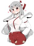 1girl absurdres bangs bow breasts collared_shirt cropped_legs eyebrows_visible_through_hair fujiwara_no_mokou grin hair_bow hands_in_pockets heart highres long_hair long_sleeves looking_at_viewer ofuda ofuda_on_clothes pants pocket red_eyes red_pants shirt sidelocks silver_hair simple_background smile solo standing suspenders takeu thick_eyebrows touhou upper_body very_long_hair white_background white_shirt wing_collar