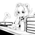 1girl apron bell bespectacled book book_stack checkered chin_rest glasses hair_bell hair_ornament jingle_bell kikoka_(mizuumi) looking_at_viewer monochrome motoori_kosuzu phonograph round_glasses short_hair smile solo touhou twintails